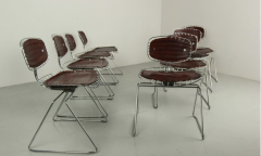 Michel Cadestin Georges Laurent Leather and Metal Beaubourg Chairs by Michel Cadestin and Georges Laurent - 259560