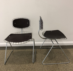 Michel Cadestin Georges Laurent Pair of Beauborg wire and leather stacking chairs - 751863