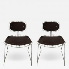 Michel Cadestin Georges Laurent Pair of Beauborg wire and leather stacking chairs - 752367