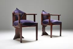 Michel De Klerk Dutch Art Deco Amsterdamse school pair of armchairs 1950s - 1311520