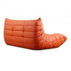 Michel Ducaroy - Togo Loveseat in Orange Leather by Michel Ducaroy ...