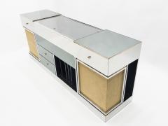Michel Pigneres Rare Michel Pigneres brass mirrored alcantara sideboard circa 1969 - 1072551