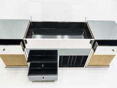 Michel Pigneres Rare Michel Pigneres brass mirrored alcantara sideboard circa 1969 - 1072552