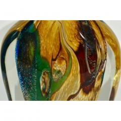 Michele Onesto Michele Onesto 1990s Green Yellow Blue Silver Overlaid Crystal Murano Glass Vase - 1308133