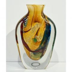 Michele Onesto Michele Onesto 1990s Green Yellow Blue Silver Overlaid Crystal Murano Glass Vase - 1308135