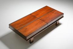 Michelluci walnut coffee table with storage 1970s - 1638191