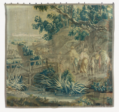 Mid 18th Century Square Century French Aubusson Green Landscape Tapestry - 1943671
