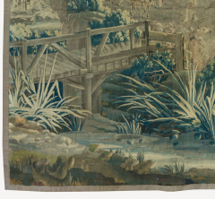 Mid 18th Century Square Century French Aubusson Green Landscape Tapestry - 1943674
