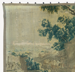 Mid 18th Century Square Century French Aubusson Green Landscape Tapestry - 1943676