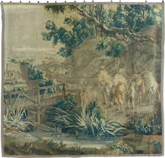 Mid 18th Century Square Century French Aubusson Green Landscape Tapestry - 1943735