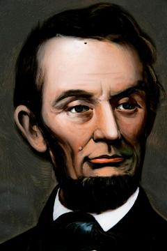 Mid 19th Century Lincoln Portrait Painting on Glass - 2073980