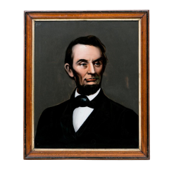 Mid 19th Century Lincoln Portrait Painting on Glass - 2073983