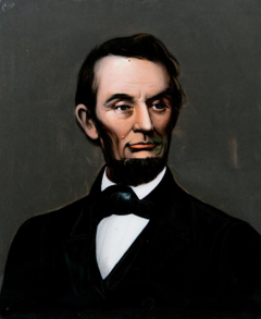 Mid 19th Century Lincoln Portrait Painting on Glass - 2074066