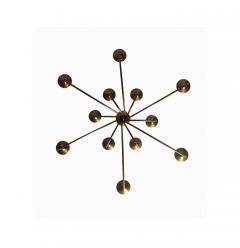 Mid 20th Century Modern Twelve Light Brass Chandelier - 602527