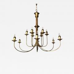 Mid 20th Century Modern Twelve Light Brass Chandelier - 603468