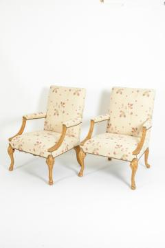 Mid 20th Century Pair of Giltwood Frame George II Style Armchairs - 1131521