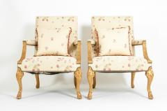 Mid 20th Century Pair of Giltwood Frame George II Style Armchairs - 1131522