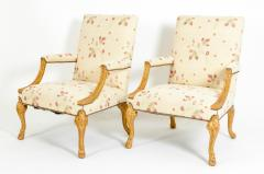 Mid 20th Century Pair of Giltwood Frame George II Style Armchairs - 1131537