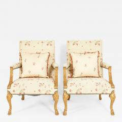 Mid 20th Century Pair of Giltwood Frame George II Style Armchairs - 1132320