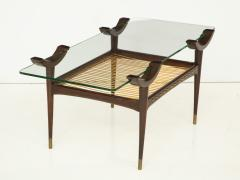 Mid 20th Century Stained Beechwood Two Tiered Cocktail Table - 900060