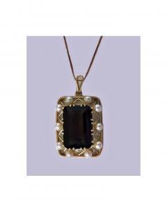 Mid Century 14K Quartz and Cultured Pearl Pendant Necklace C 1960 - 230986
