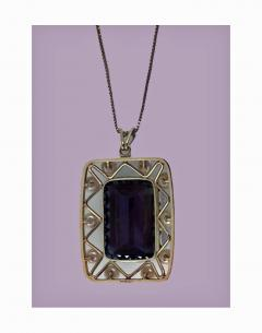 Mid Century 14K Quartz and Cultured Pearl Pendant Necklace C 1960 - 230987