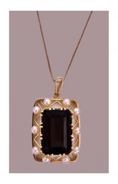 Mid Century 14K Quartz and Cultured Pearl Pendant Necklace C 1960 - 230988