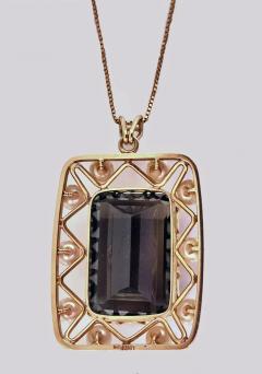 Mid Century 14K Quartz and Cultured Pearl Pendant Necklace C 1960 - 230989