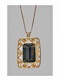 Mid Century 14K Quartz and Cultured Pearl Pendant Necklace C 1960 - 230990