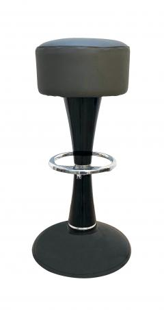 Mid Century Bar Stools Black Lacquered and Chromed Grey Leather France 1950s - 1316592