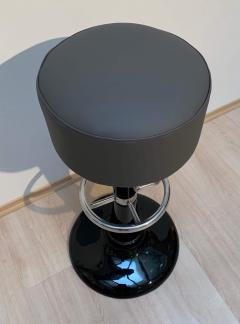 Mid Century Bar Stools Black Lacquered and Chromed Grey Leather France 1950s - 1316593
