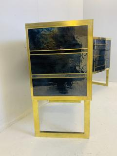 Mid Century Blue Black Chest of Drawers Italy  - 1708259