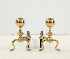 Mid Century Brass Cannonball Andirons - 1924338