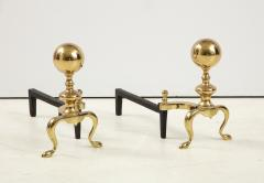 Mid Century Brass Cannonball Andirons - 1924339