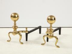 Mid Century Brass Cannonball Andirons - 1924341