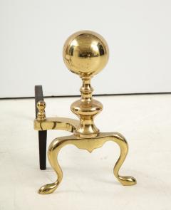 Mid Century Brass Cannonball Andirons - 1924347