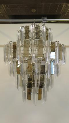 Mid Century Brass Glass and Lucite Chandelier - 767491