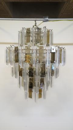 Mid Century Brass Glass and Lucite Chandelier - 767497