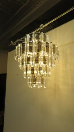 Mid Century Brass Glass and Lucite Chandelier - 767500
