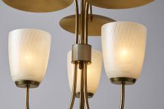 Mid Century Brass and Glass Ceiling Lamp Scandinavia 1950s - 2057047