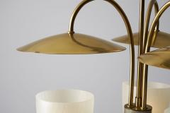 Mid Century Brass and Glass Ceiling Lamp Scandinavia 1950s - 2057048
