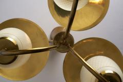 Mid Century Brass and Glass Ceiling Lamp Scandinavia 1950s - 2057049