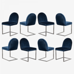 Mid Century Cantilevered Chrome Dining Chairs in Navy Velvet Set of 8 - 1746984