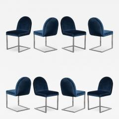 Mid Century Cantilevered Chrome Dining Chairs in Navy Velvet Set of 8 - 1750197