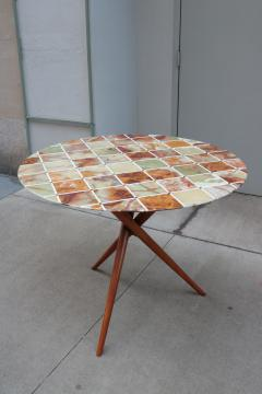 Mid Century Center Table With Fine Inlaid Stone Top - 1855676