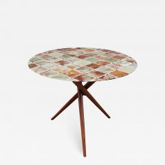 Mid Century Center Table With Fine Inlaid Stone Top - 1856201