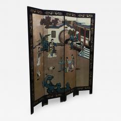 mid century chinese coromandel lacquer folding screen