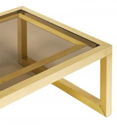 Mid Century Coffee Table with Brass and Smoked Glass - 598181