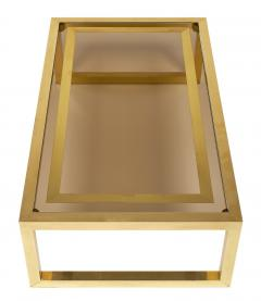 Mid Century Coffee Table with Brass and Smoked Glass - 598185