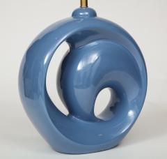 Mid Century Conflower Blue Porcelain Lamps - 1035156